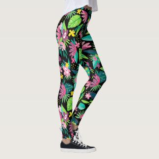 Colorful Tropical Flowers Seamless Pattern Leggings