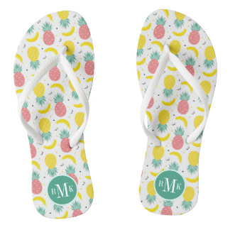 Colorful Tropical Fruit Pattern Flip Flops