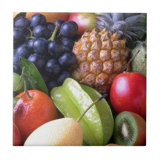Colorful tropical fruits ceramic tile
