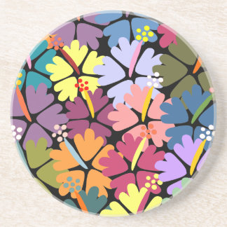 Colorful Tropical Hibiscus Coaster