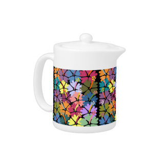 Colorful Tropical Hibiscus Teapot