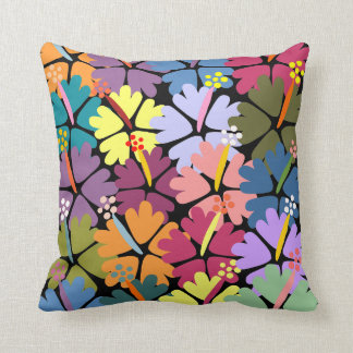 Colorful Tropical Hibiscus Throw Pillow