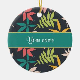 Colorful Tropical Leaves Ceramic Ornament