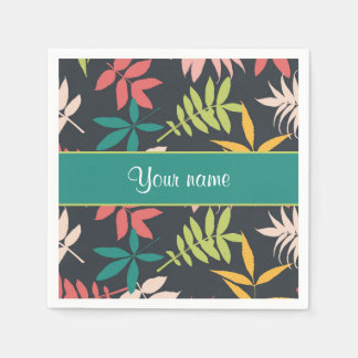 Colorful Tropical Leaves Napkin