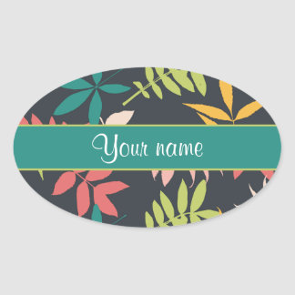 Colorful Tropical Leaves Oval Sticker