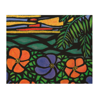 Colorful Tropical Ocean Sunset Wood Print