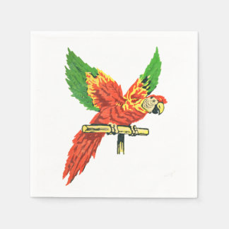Colorful Tropical Parrot Antique Inspired Themed Napkin