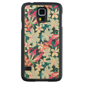 Colorful Tropical Pattern Carved Maple Galaxy S5 Slim Case