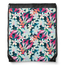 Colorful Tropical Pattern Drawstring Bag