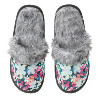 Colorful Tropical Pattern Pair Of Fuzzy Slippers