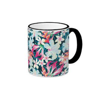 Colorful Tropical Pattern Ringer Mug