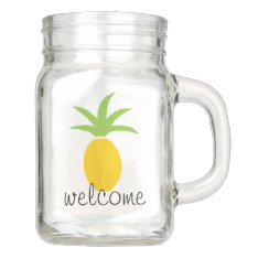 Colorful Tropical Pineapple Welcome Custom Mason Jar at Zazzle