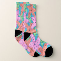 Colorful Tropical Starfish Pattern Socks