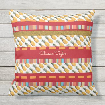 Beach Themed colorful & tropical , stylish & custom , pineapple outdoor pillow