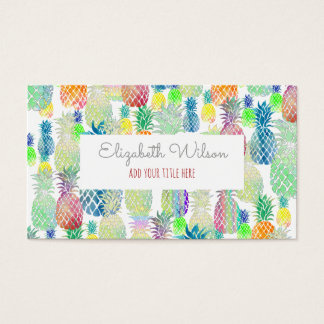 colorful tropical summer pineapples business card