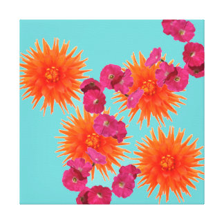 Colorful Tropical Turquoise Orange Pink Flowers Canvas Print