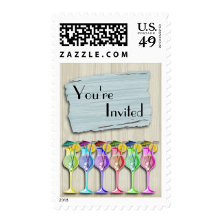 Colorful Tropical Umbrella Drinks Stamp