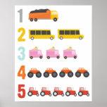 Colorful Trucks Number Nursery Art Poster