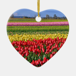 Colorful tulip field ceramic ornament