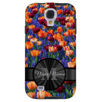 Colorful Tulip field monogrammed Galaxy S4 Case