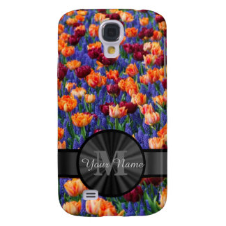 Colorful Tulip field monogrammed Samsung Galaxy S4 Cover