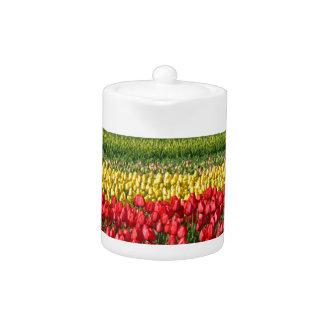 Colorful tulip field teapot