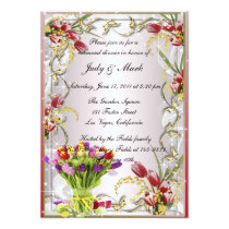Colorful Tulip Floral Rehearsal Dinner Invitation