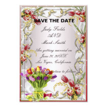 Colorful Tulip Floral Save The Date Card