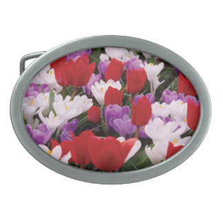 Colorful Tulip Flowers Belt Buckle