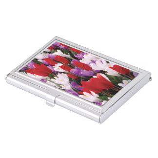 Colorful Tulip Flowers Business Card Holder