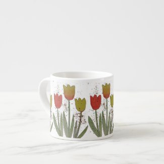 Colorful tulip flowers ceramic espresso mug