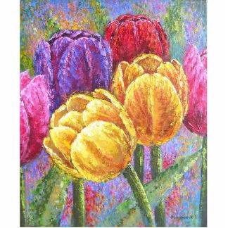 Colorful Tulip Flowers Painting Art - Multi Statuette