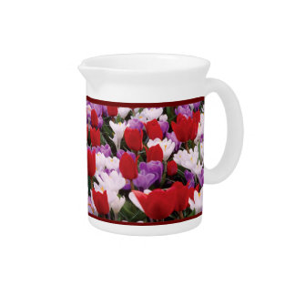 Colorful Tulip Flowers Pitcher