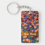 Colorful tulips acrylic keychain