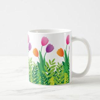Colorful Tulips and Green Vegetation Coffee Mug