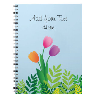 Colorful Tulips and Green Vegetation Notebook