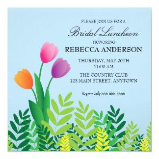 """Colorful Tulips Bridal Luncheon 5.25"""" Square Invitation Card"""