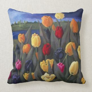 Colorful Tulips: Dutch, Holland: Acrylic Painting Throw Pillows