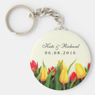 Colorful Tulips Floral Wedding Favor Keychain
