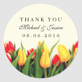 Colorful Tulips Floral Wedding Thank You Stickers