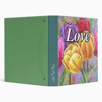 Colorful Tulips Flowers Painting Art - Multi Binder