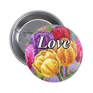 Colorful Tulips Flowers Painting Art - Multi Buttons