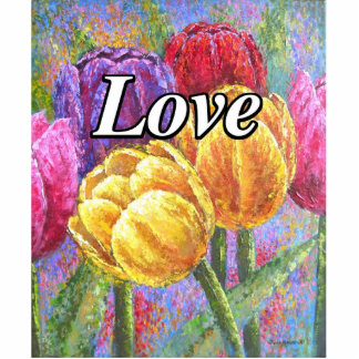 Colorful Tulips Flowers Painting Art - Multi Statuette