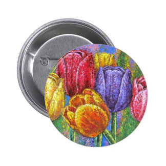 Colorful Tulips Flowers Painting Floral Art Multi Pinback Button