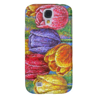 Colorful Tulips Flowers Painting Floral Art Multi Galaxy S4 Cover