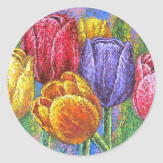 Colorful Tulips Flowers Painting Floral Art Multi Classic Round Sticker