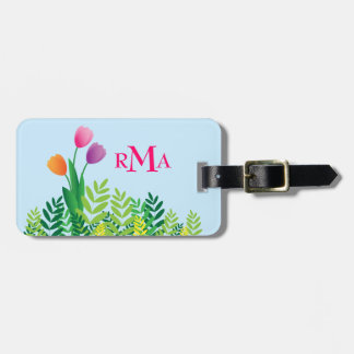Colorful Tulips, Green Vegetation & Monogram Travel Bag Tags