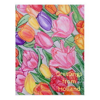 Colorful Tulips Hand Drawn Greeting Card