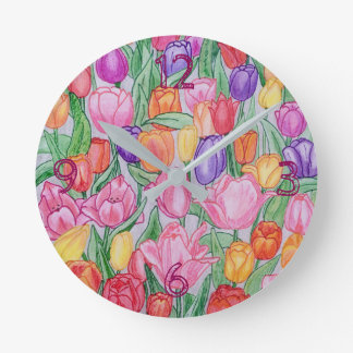 Colorful Tulips Hand Drawn Round(medium)Wall Clock