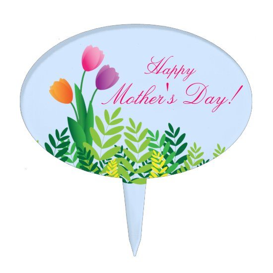 Colorful Tulips, Happy Mother's Day Cake Topper